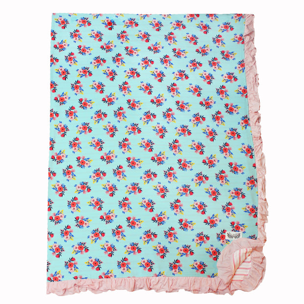 Azure Floral Double-Layered Ruffle Throw Blanket