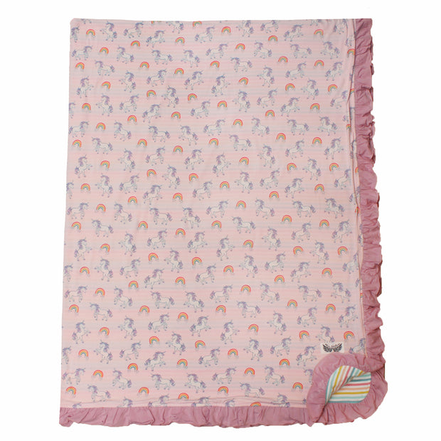 Heavenly Pink Unicorns & Rainbows Double-Layered Ruffle Throw Blanket