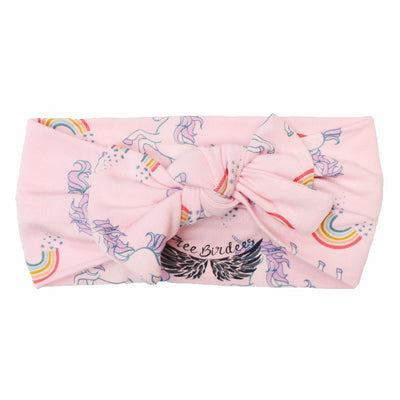 Heavenly Pink Unicorns & Rainbows Hair Bow