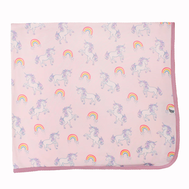 Heavenly Pink Unicorns & Rainbows Swaddling Blanket