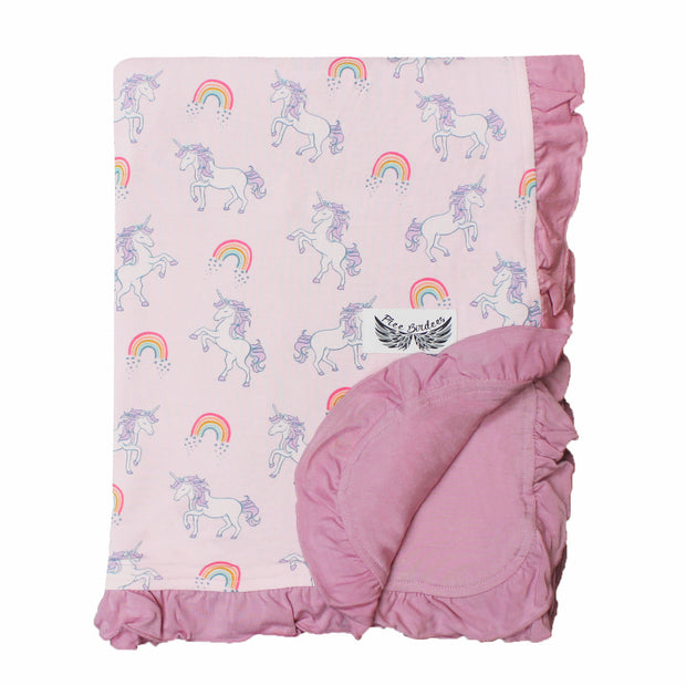Heavenly Pink Unicorns & Rainbows Ruffle Stroller Blanket