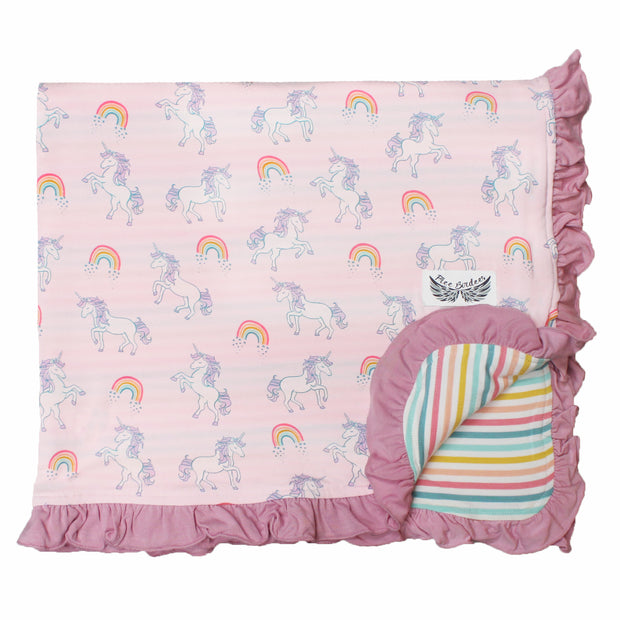 Heavenly Pink Unicorns & Rainbows Ruffle Toddler Blanket