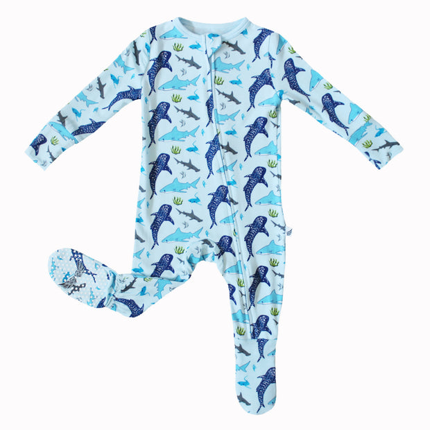 Ocean Blue Sharks Footie (0-24m)