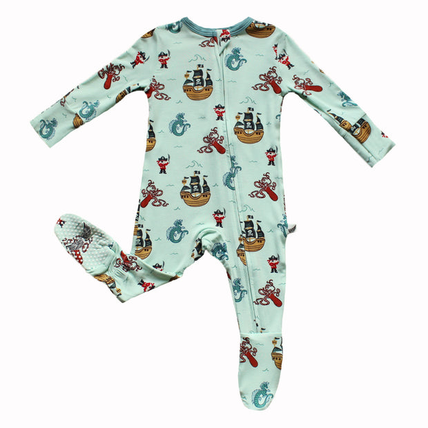 Seafoam Pirates & Sea Dragons Footie (0-24m)