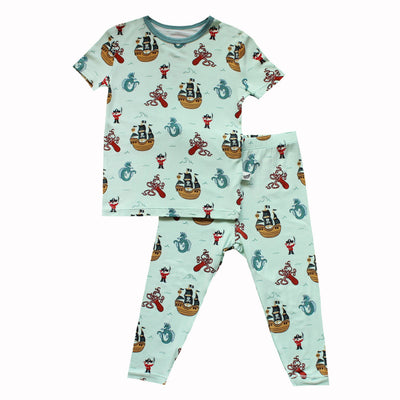 Seafoam Pirates & Sea Dragons Short Sleeve Pajama Set (2T-10Y)