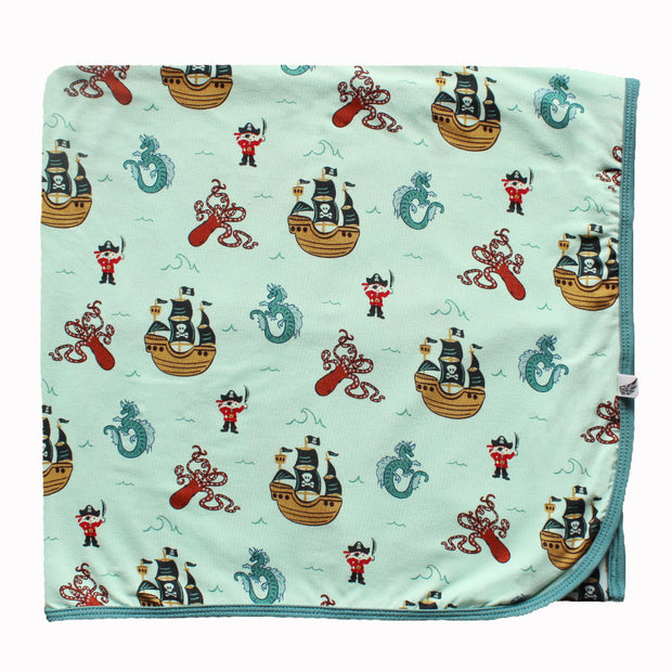 Seafoam Pirates & Sea Dragons Swaddling Blanket