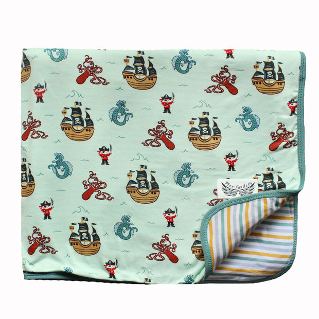 Seafoam Pirates & Sea Dragons Toddler Blanket