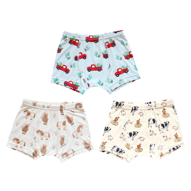 Farm Buddies/Horses/Trucks Boys Boxer Set of 3