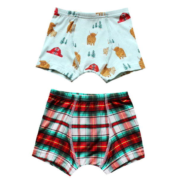 Winter Highland Cattle / Holiday Plaid Boys Boxer Set of 2