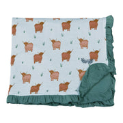 Highland Cattle Ruffle Toddler Blanket