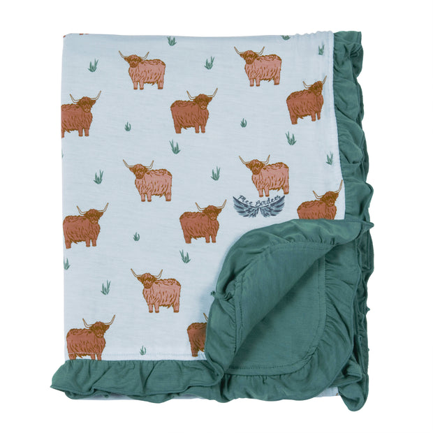 Highland Cattle Ruffle Stroller Blanket