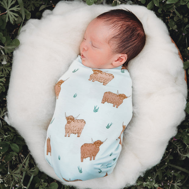 Highland Cattle Swaddling Blanket
