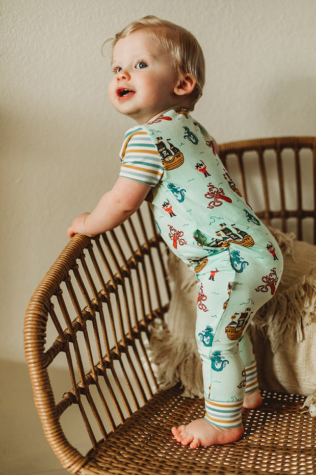 Seafoam Pirates & Sea Dragons Romper (2T-3T)