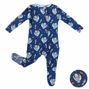 Midnight Blue Astro Sloth Footie (2T-3T)
