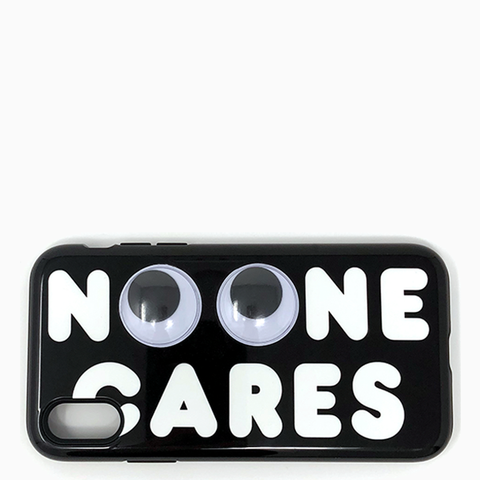 "No One Cares iPhone X case with googly eyes ""black"""