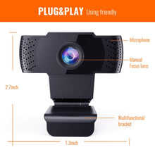 Load image into Gallery viewer, Firsting Full 1080P USB Webcam with Microphone| Plug and Play for Laptop/Desktop