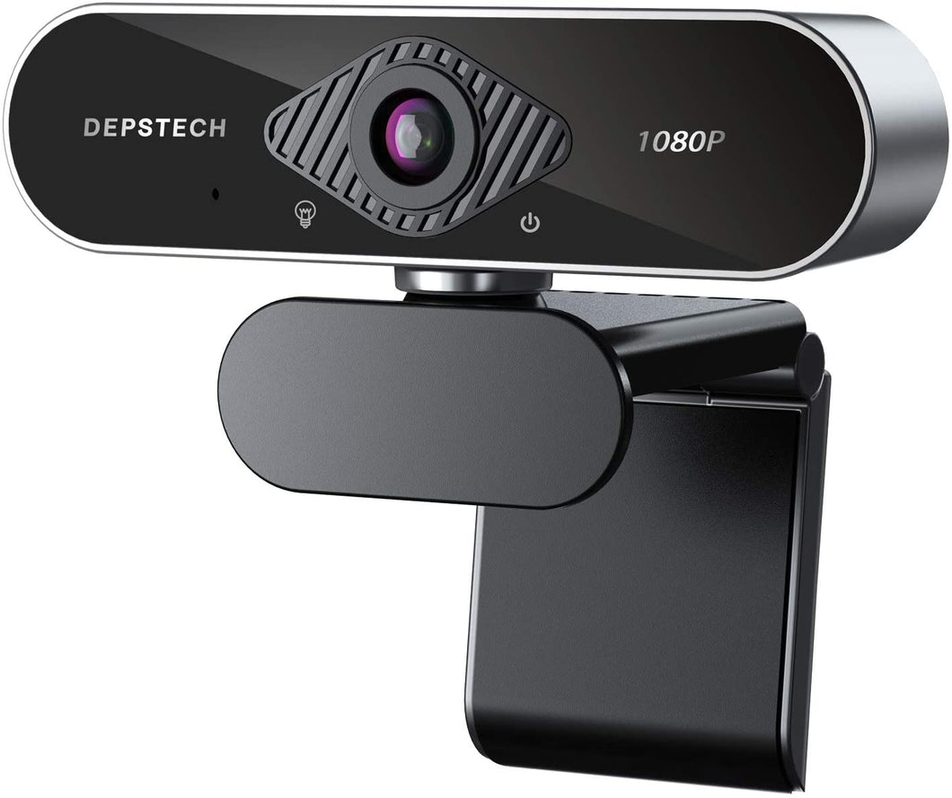 DEPSTECH USB Webcam with Microphone 1080P HD with Auto Light Correction for Desktop/Laptop