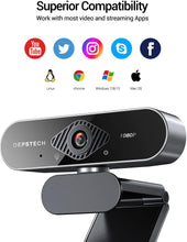 Load image into Gallery viewer, DEPSTECH USB Webcam with Microphone 1080P HD with Auto Light Correction for Desktop/Laptop