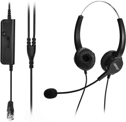 AGPtEK Hands-Free Call Center Corded Binaural Headset with Mircrophone