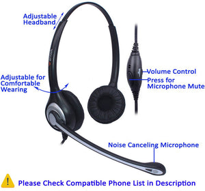 Wantek Corded Telephone Headset (Dual) w/Noise Canceling Mic - Work At-Home Equipment Solutions (WAHES)