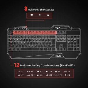 HAVIT Gaming Rainbow LED Backlit Wired Keyboard, Mouse, Headset & Mouse Pad Kit