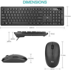 Rii RK102 Standard Wireless Keyboard and Mouse Combo