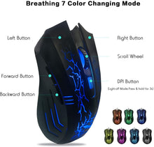Load image into Gallery viewer, HAVIT Gaming Rainbow LED Backlit Wired Keyboard, Mouse, Headset & Mouse Pad Kit