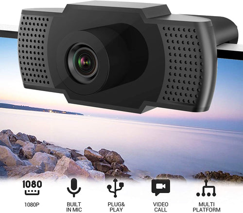 Flowmist 1080P HD USB Webcam with Microphone Built-in Noise Reduction| Plug & Play Auto Focus for Laptop/Desktop