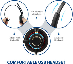 Arama Mono USB Headset with Microphone Noise Cancelling & Audio Controls