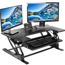"Load image into Gallery viewer, VIVO Black Height Adjustable 36"" Stand up Desk Converter - Work At-Home Equipment Solutions (WAHES)"