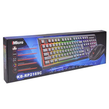 Load image into Gallery viewer, iMicro Rainbow Backlit USB Wired Keyboard & Mouse Kit (Black)