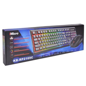 iMicro Rainbow Backlit USB Wired Keyboard & Mouse Kit (Black)