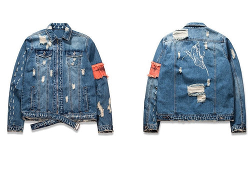 Distressed Jean Flight Jacket