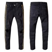 Load image into Gallery viewer, Destroyed Racing Stripe Black Denim