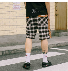 Casual plaid shorts (brown)