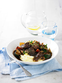 BEEF AND VEGETABLE CASSEROLE WITH RED WINE