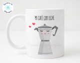 Spanish Language 11 oz Ceramic Coffee Mug with Cafetera