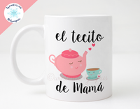 Spanish 11 oz Ceramic Mug with Teapot and Teacup