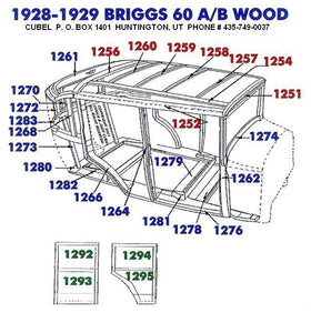 New body wood for your 1928 or 1929 Ford Briggs 60A or 60B Fordor