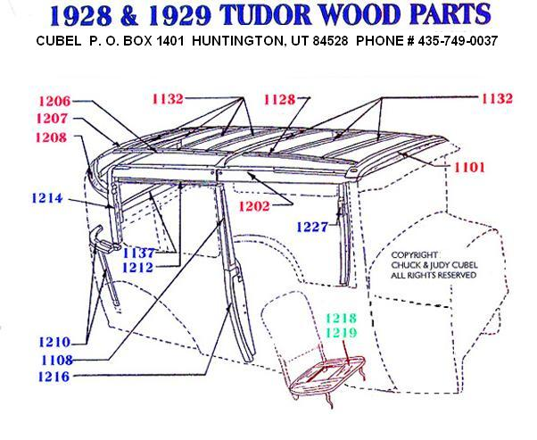 New top wood for your 28 or 29 Ford Tudor, With Fasteners.