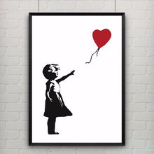 Load image into Gallery viewer, Print Poster Little Girl with a Red Heart Balloon