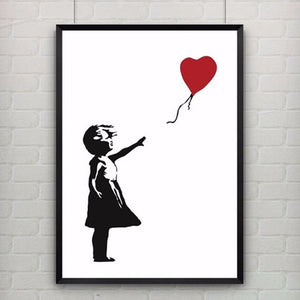 Print Poster Little Girl with a Red Heart Balloon