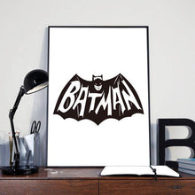 Load image into Gallery viewer, Typographic Minimalist Poster Print - Batman Logo