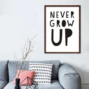 Typographic Print Poster With Quote - Never Grow Up