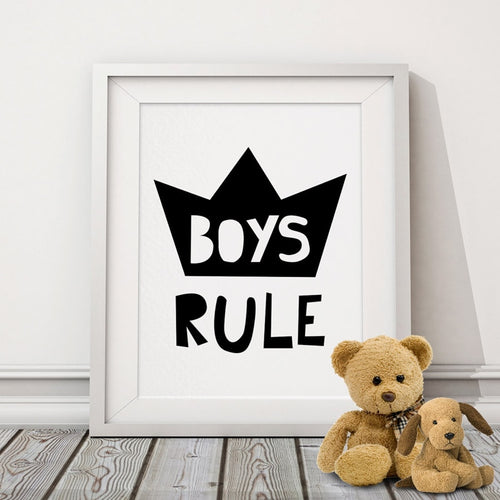 Boys Rule Canvas Prints Typography Poster Motivational Quotes Wall Picture Nursery Art Kids Room Decorations Home Decor No Frame