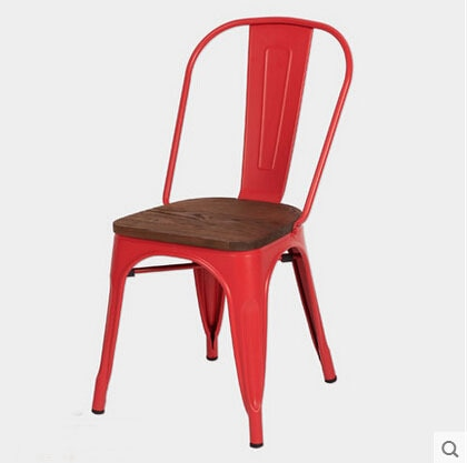 Free Shipping Red Side Chair with Elem Wood Seat