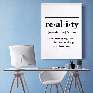Minimalist Reality Definition Wall Art Poster Print