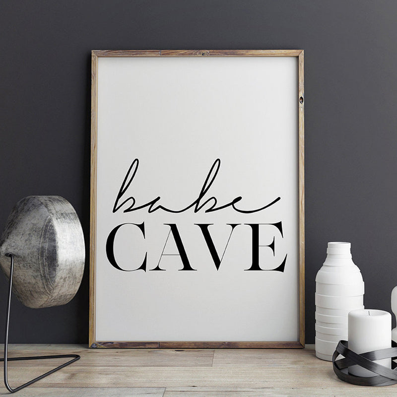 Babe Cave Nursery Wall Art Canvas Painting Scandinavian Affiche Black White Typography Poster Print Bedroom Home Decor Unframed