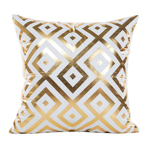 Gold Foil Print Pillow Case with geometric pattern