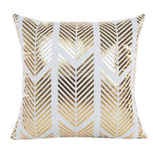 Load image into Gallery viewer, Gold Foil Print Pillow Case herringbone pattern